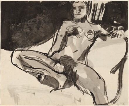 Untitled [female nude resting with her right leg in the seat] [verso]