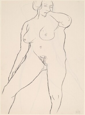 Untitled [standing nude with her left hand under her chin] [verso]