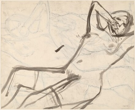 Untitled [reclining female nude with arms raised] [verso]