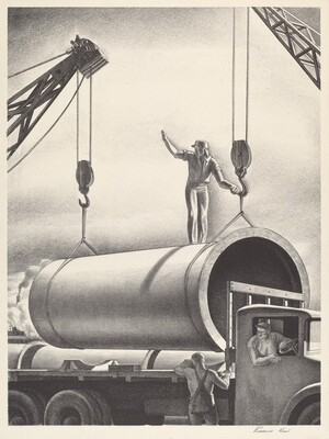 Untitled (Lowering Pipe Section onto a Truck)