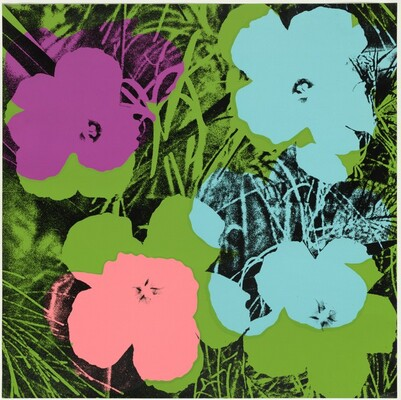 Flowers (pink, blue, green)