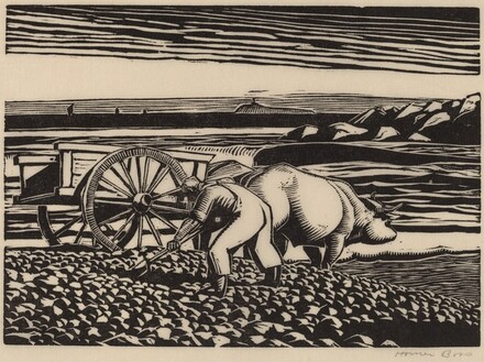 Untitled (Man Gathering Rock From Seashore, With Ox-Cart)