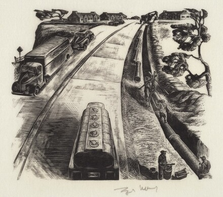 Untitled (Curving Street With Trucks and Car)