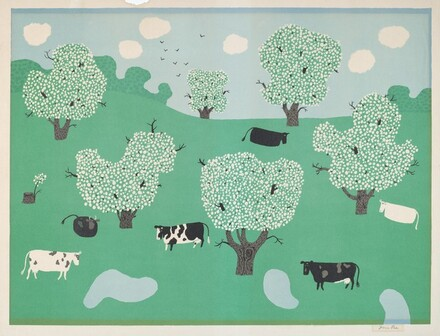 Untitled (Cows and Flowering Trees)
