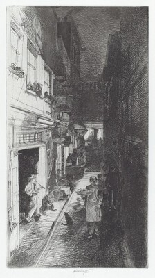 Alley at Night with Three Cats