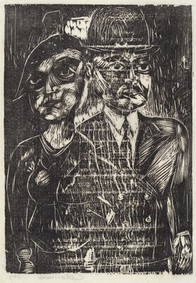 Untitled (Man with bowler hat and woman with beret)