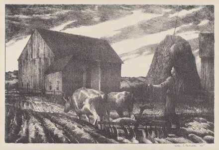 Farmyard Scene with Man Plowing