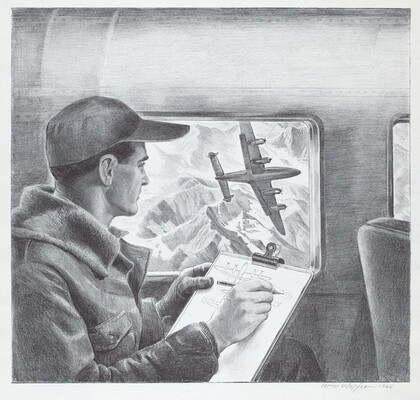 Untitled (Engineer Making Notes on Plans as he Watches Bomber Maneuvering Over Mountains)