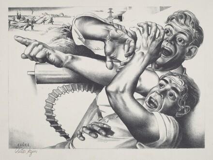 Untitled (Frightened Men by Machine Gun; Spanish Civil War)