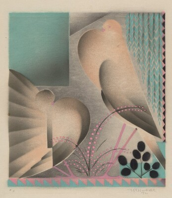 Untitled (Two Fantail Pigeons)