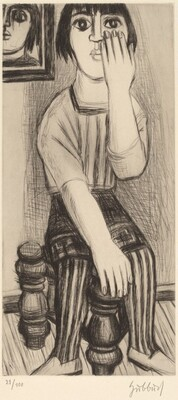 A Seated Young Woman Gesturing