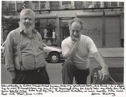 Peter Orlovsky & Robert Frank parked across from my apartment door, his truck --he had stopped by to visit.  I brought down my Leica & Fuji cameras & film for him to take my photo for back cover Selected Prose. Peter came by. They hadn't seen each other in nine months Peter said. East 12th street, June 11, 1996.