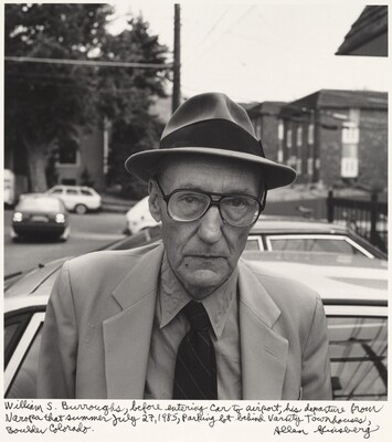 William S. Burroughs, before entering car to airport, his departure from Naropa that summer July 27, 1985, Parking lot behind Varsity Townhouses, Boulder Colorado.