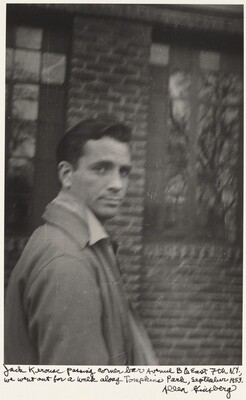 Jack Kerouac passing corner bar Avenue B & East 7th N.Y., we went out for a walk along Tompkins Park, September 1953