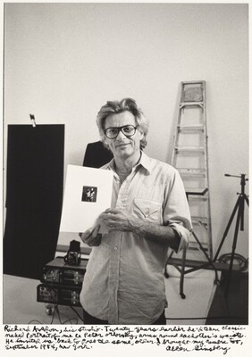Richard Avedon, his studio. Twenty years earlier he'd taken classic naked portrait of me & Peter Orlovsky, arms round each other's waists. He invited me back to pose the same, older. I brought my camera too, September 1984, New York