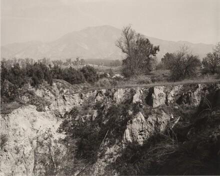 Eroding edge of a former citrus-growing estate, Highland, California