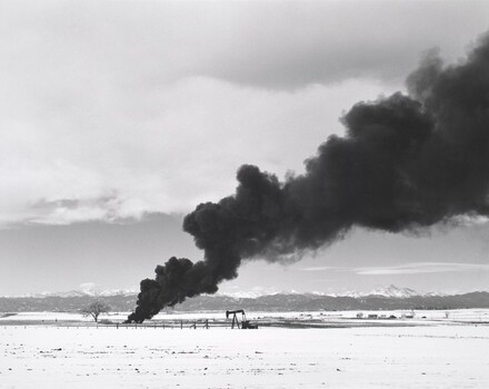 Burning oil sludge, north of Denver, Colorado