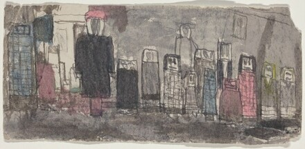 Untitled (Figures Lined  Against a Wall)