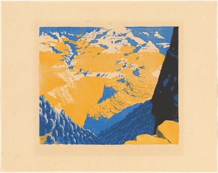 Bright Angel Trail [proof in black, blue, and yellow]