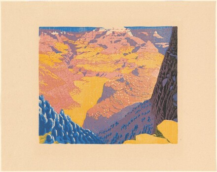 Bright Angel Trail [proof in black, blue, yellow, and pink]