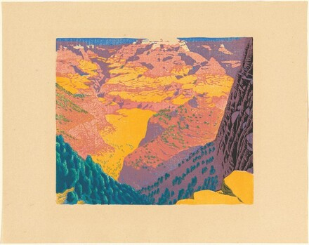 Bright Angel Trail [proof in black, blue, yellow, pink, turquoise green]