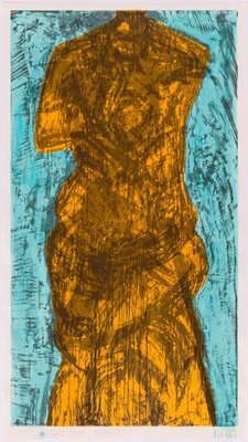 Woodcut with Teal and Yellow