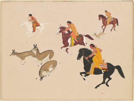 Mounted Indians Hunting Deer with Bow and Arrow