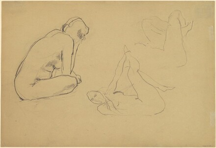 Three Nudes, Sitting and Lying Down [recto]