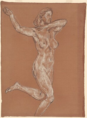 The Quest (Running Female Nude, Arms Raised)