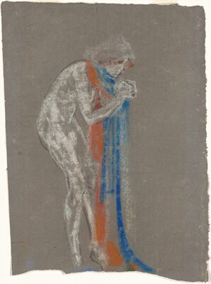Woman with Red and Blue Scarf
