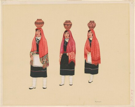 Three Hopi Women Carrying Water Vessels