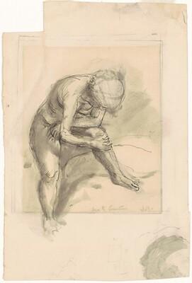 Untitled [female nude with left foot raised]