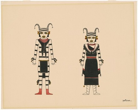 Two Standing Figures in Ceremonial Costume with Horns