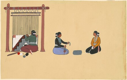 Three Navajo Women Weaving