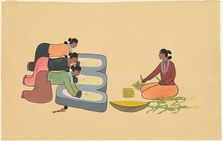 Four Navajo Women Grinding Corn