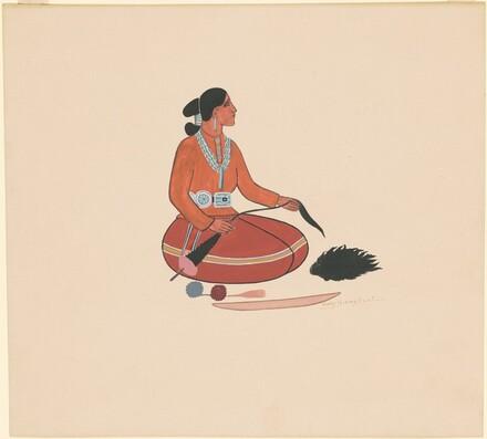 Kneeling Indian Woman Spinning