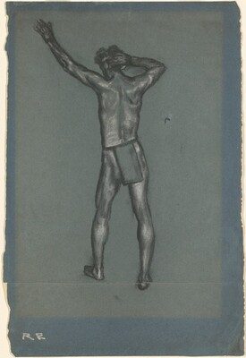 The Signal [Rear View of Standing Man in Loincloth with Arm Raised]