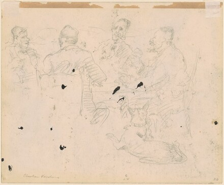 Men Drinking at a Table with a Dog in the Foreground [verso]