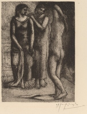 Two Women Gazing at a Nude Model (Deux femmes regardent un modèle nu)