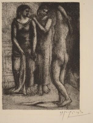 Two Women Gazing at a Nude Model (Deux femmes regardent un modèle nu)