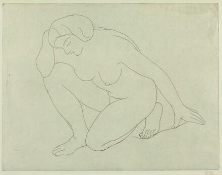 Woman Kneeling on Her Left Knee with Elbow onthe Right Knee (Femme agenouilee sur le genou gauche, le coude sur le genou droit)