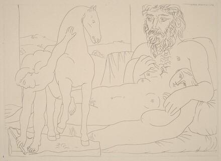 Sculptor and His Model with a Sculpture Group of a Horse and Groomer (Sculpteur et son modèle avec un groupe sculpté représentant un dresseur de chevaux)