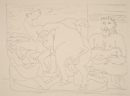 Sculptor and Model with a Sculpture Representing a Bull Attacking Horses (Sculpteur et son modèle avec un groupe sculpté représentant un taureau attaquant des chevaux)