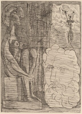 Sculptures Representing Marie-Thérèse and the Head of the Sculptor, with a Vase of Three Flowers (Sculptures représentant Marie-Thérèse et la tête du sculpteur, avec le vase aux trois fleurs)