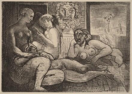 Four Nudes and Sculpted Head (Quatres femmes nues et tete sculptee)