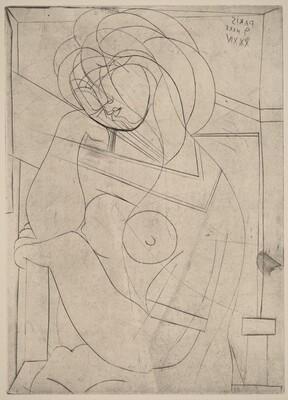 Seated Woman Holding Head in Hand  (Femme nueassise, la tete appuyee sur la main)