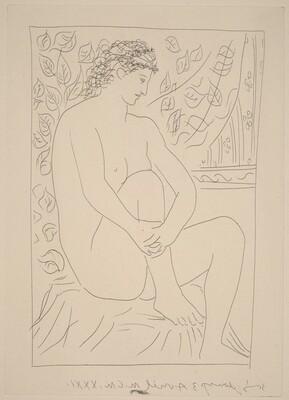 Nude Seated before a Curtain (Femme nue assise devant un rideau)