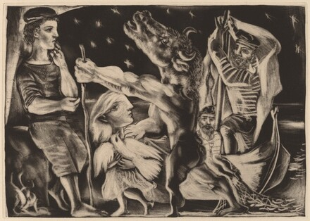 Blind Minotaur Led by Marie-Therese with a Dove in a Starry Night (Minotaure aveugle guide par Marie-Therese au pigeon dans une nuit etoilee)