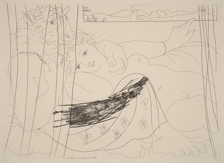Minotaur and Young Woman Entertwined and Dreaming Under a Window (Minotaure et jeune femme enlacés rêvant sous une fenêtre)