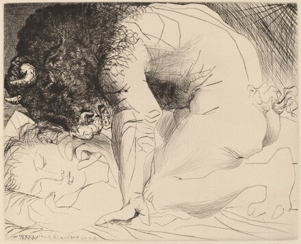 Minotaur Caressing a Sleeping Woman (Minotaure caressant une dormeuse)